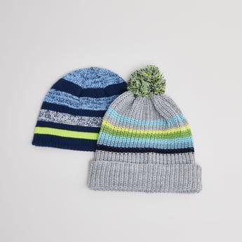 قبعات أطفال مخططة- طقم من قطعتين