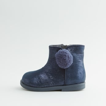 Textured Boots with Pom Pom Detail and Zip Closure
