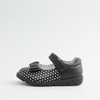 Polka Dot Printed Mary Jane Shoes with Hook and Loop Closure
