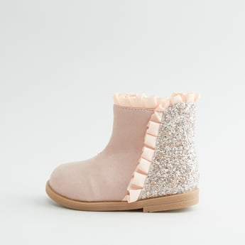 Glitter Detail Boots with Zip Closure