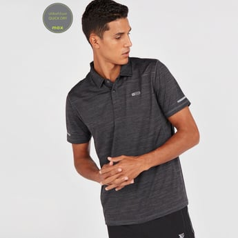 Tape Detail Reflective Quick Dry Polo T-shirt with Short Sleeves