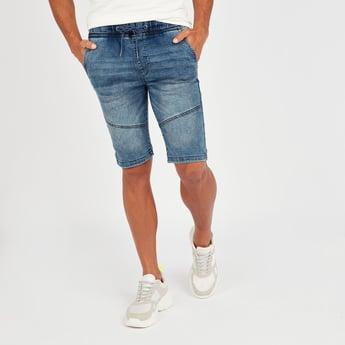 Panel Detail Denim Shorts with Pockets and Drawstring Closure