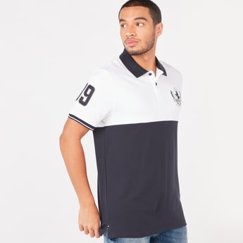 Colour Block Polo T-shirt with Short Sleeves