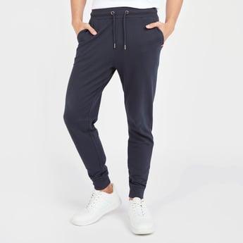 Slim Fit Solid Mid-Rise Jog Pants with Pocket Detail