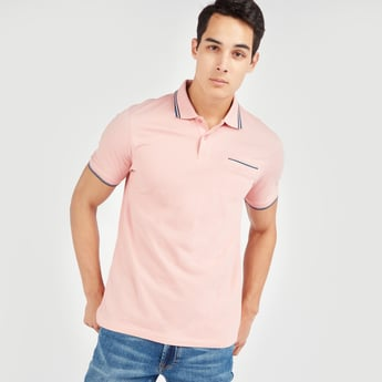 Solid Polo Shirt with Short Sleeves and Piping Detail