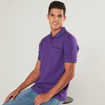 Tipping Detail Polo T-shirt with Short Sleeves and Welt Pocket