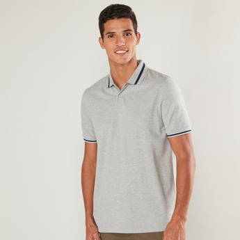 Tipping Detail Polo T-shirt with Short Sleeves