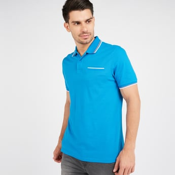 Textured Tipping Polo T-shirt with Striped Collar and Pocket