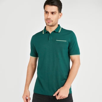 Textured Polo T-shirt with Short Sleeves and Chest Pocket