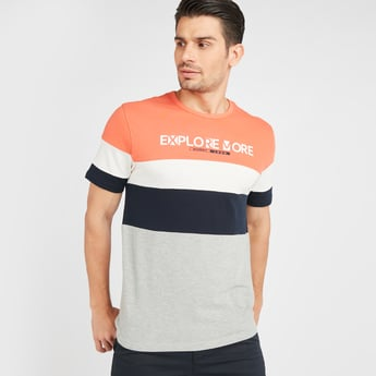 Colour Block T-shirt with Short Sleeves