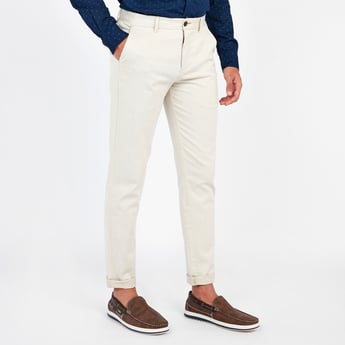 Solid Mid-Rise Chinos with Pocket Detail and Belt Loops