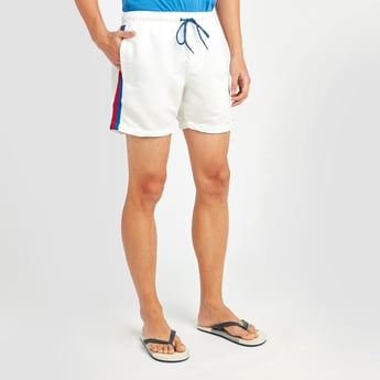 Solid Tape Detail Shorts with Pocket Detail and Drawstring Closure