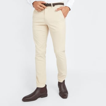 Solid Belted Chinos with Pockets