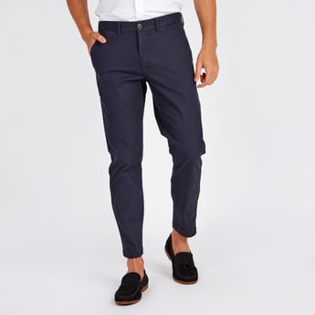 Solid Mid-Rise Chinos with Pocket Detail and Button Closure