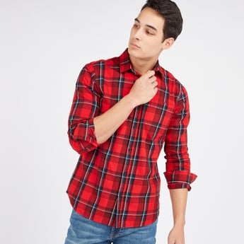 Slim Fit Chequered Shirt with Long Sleeves and Complete Placket
