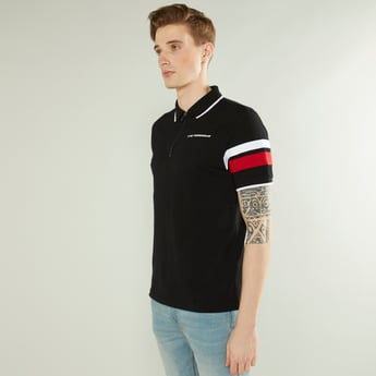 Slim Fit Solid Polo Neck T-shirt with Short Sleeves