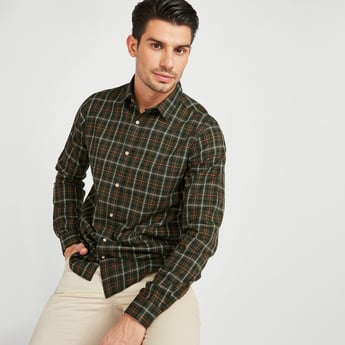 Slim Fit Checked Shirt with Long Sleeves and Spread Collar