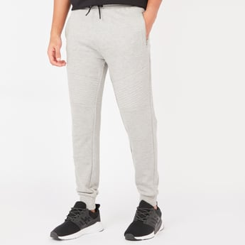 Slim Fit Mid-Rise Jog Pants with Pockets and Drawstring