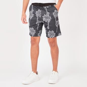Printed Mid-Rise Shorts with Pocket Detail and Drawstring Closure
