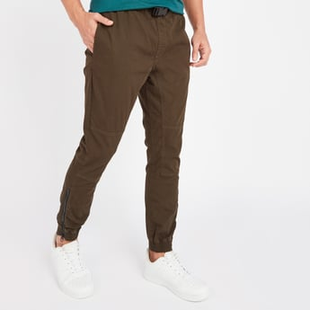 Slim Fit Full Length Solid Mid-Rise Jog Pants with Buckle Closure