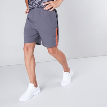 Solid Mid-Rise Shorts with Tape Detail and Elasticated Waistband