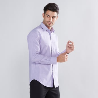 Striped Formal Shirt with Long Sleeves and Chest Pocket
