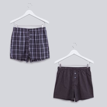 Set of 2 - Chequered Boxers with Button Detail