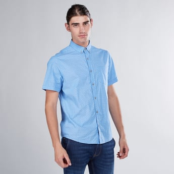 Printed Spread Collared Shirt with Short Sleeves and Patch Pocket
