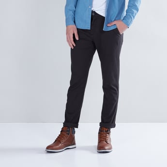 Solid Chinos in Regular Fit with Pocket Detail
