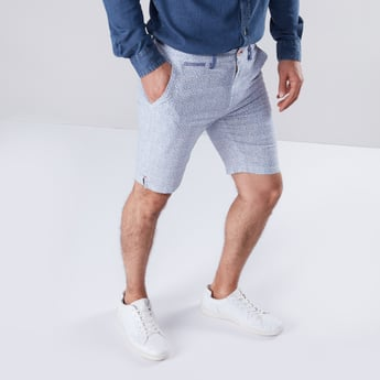 Printed Knee Length Shorts with 4-Pockets and Button Closure