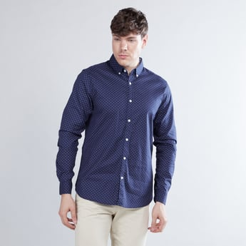Printed Shirt with Button-Down Collar and Long Sleeves