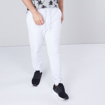 Textured Cuffed Joggers with Slim Fit and Drawstring Closure