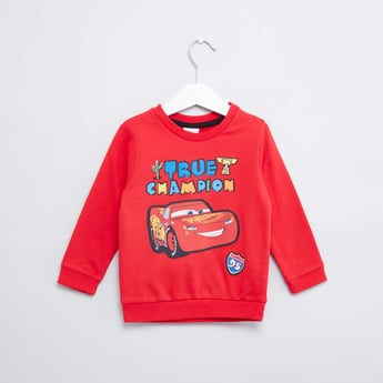 Cars Printed Sweatshirt with Round Neck and Long Sleeves