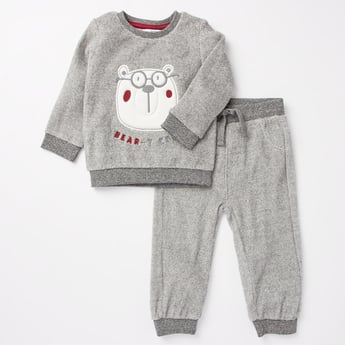 Textured Sweatshirt and Full Length Jog Pants Set
