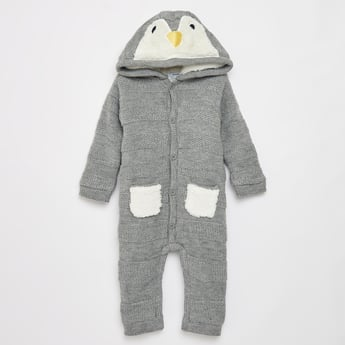Textured Pram Suit with Hooded Neck and Front Button Closure