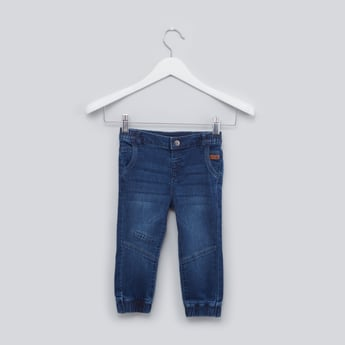 Denim Jog Pants with Elasticised Waistband and Pocket Detail