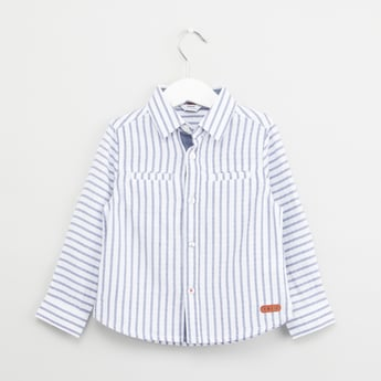 Striped Shirt with Spread Collar and Pocket Detail