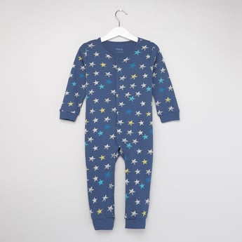 All-Over Star Print Sleepsuit with Round Neck and Long Sleeves