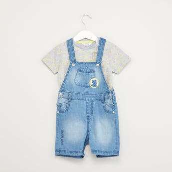 Dungaree Set with Dino Applique