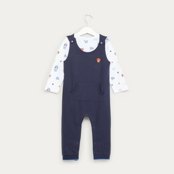 Printed Long Sleeves T-shirt with Textured Dungaree