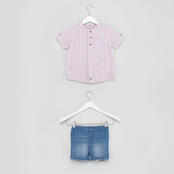 Striped Short Sleeves Shirt with Denim Shorts
