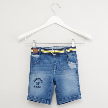 Textured Denim Shorts with Pocket Detail and Belt