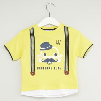 Graphic Print Round Neck T-shirt with Short Sleeves and Tape Detail
