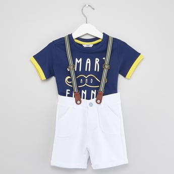 Text Print T-shirt with Suspender Shorts