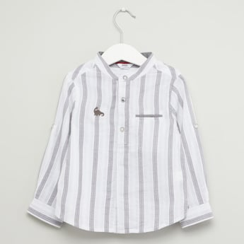 Striped Shirt with Mandarin Collar and Long Sleeves
