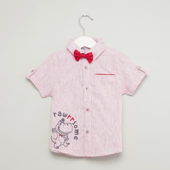 Graphic Print Shirt with Short Sleeves and Bowtie