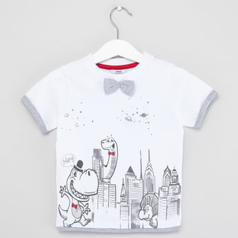 Dinosaur Print T-shirt with Bow Applique and Short Sleeves