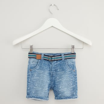 Printed Denim Shorts with Pocket Detail and Belt
