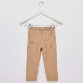 Textured Cargo Pants with Belt Loops and Pocket Detail