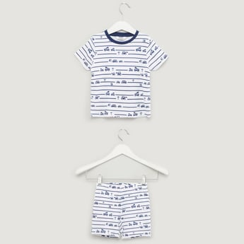 Striped Short Sleeves T-shirt with Shorts